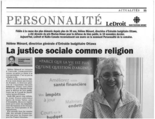 Hommage à Hélène Ménard, Directrice générale sortante du Centre d'éducation financière EBO